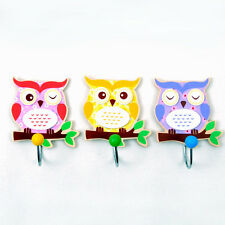 New wooden small single clothes hooks - cute baby Owl set of 3