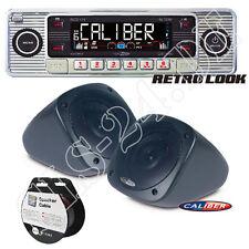 Retro Design USB CD MP3  Oldtimer Radio CHROM + Aufbau Lautsprecher + 10m Kabel