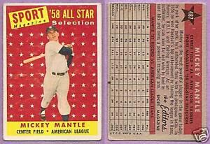 1958 Topps Single Sport Magazine Mickey Mantle New York Yankees #487
