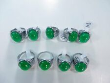 *US Seller*10 pcs wholesale rings green agate stone fashion ring