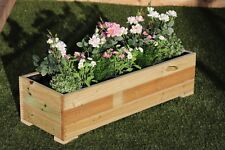 large wooden garden flower herb planter trough veg bed in decking 120cm long