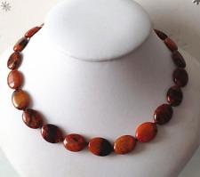 "New 13x18mm Brown & Yellow Phoenix Stone Flat Oval Gemstone Necklace 18"""
