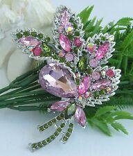 Crystal Rhinestone Art Deco Pendant 04037C10 Trendy Flower Leaf Brooch Pin Pink