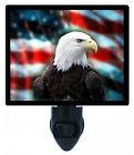 Patriotic Decorative Photo Night Light, Bald Eagle on US Flag, America, USA
