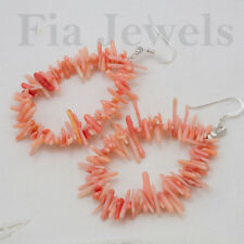 ORECCHINI Gocce Corallo Rosa Naturale Argento 925 G EARRINGS Pink bamboo coral