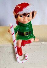 "Elf Shelf Sitter Plastic Hollow Impish Grin Kitsch Candy Cane Hook 7"""