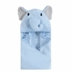 Hudson Baby Animal Face Hooded Towel, Blue Elephant