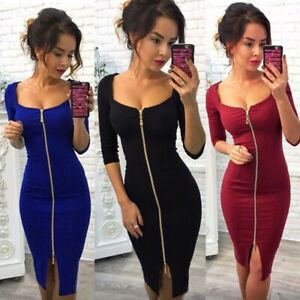 UK Womens Zipper Bodycon Long SleeveDress Ladies Sexy Casual Party Club Dresses