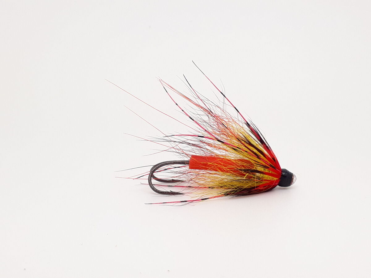 3 BLACK AND YELLOW SPRING SALMON FLIES ON COPPER TUBES BY TEVIOTFLIES