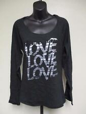 NEW Love Love Love Womens M Medium J America Black Long Sleeved Shirt