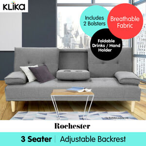 Rochester Linen Fabric Sofa Bed Lounge Couch Futon Furniture Suite - Light Grey