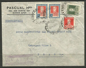 ARGENTINA. 1934. AIR MAIL COVER TO CZECHOSLOVAKIA. ARRIVALS ON REVERSE.