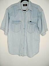 LEE Mens Vintage Denim Shirt Size Medium Short Sleeved Distressed Blue Poppers