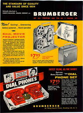 1959 ADVERT 4 PG Brumberger Toy Play Telephones Phone Movie Projector Bank ++