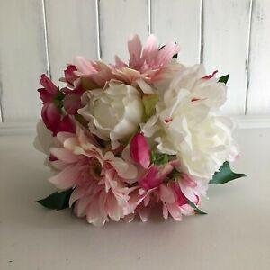 faux peony/gerbera/sweetpea mixed posy Bouquet hand tied single stems H26cm