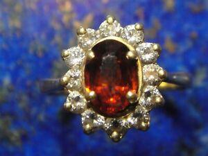 Bague Or Gold 18k 750 rubis (?) 10x brillant (non diamant) poinçon 3,65g T52/53