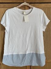 Ladies Medium Bnwt H&M White T Shirt With Blue Striped Hem 100% Cotton