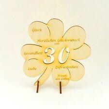 Kleeblatt mit Glückwünsche, 30 Geschenk zum Geburtstag Jubiläum Holz 11cm