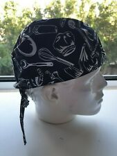 Durag ' BLACK'  Durag/Helmet liner.Bandana-Head Wrap, Chef headwraps knives fork