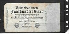 GERMANY GERMAN #74C 1922 500 MARK GOOD CIRCULATED  OLD BANKNOTE PAPER MONEY