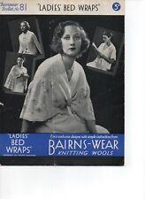 Vintage knitting pattern Bairns-Wear no.81 Ladies Bed Wraps