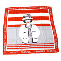 CHANEL CC Mademoiselle Jumbo Scarf Stole Red White 100% Silk Italy 04666