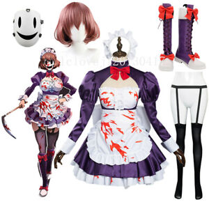 Anime High-Rise Invasion Maid-fuku Kamen Cosplay Costume Dress Suit Wig Shoes