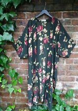 **Dorin Frankfurt** Israeli Designer Dark Floral Bohemian Duster Coat Kimono