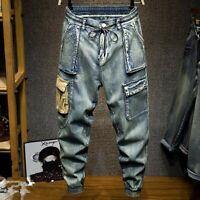 Fashion Mens Denim Harem Pants Jeans Overalls Slim Skinny Pants Casual Trousers