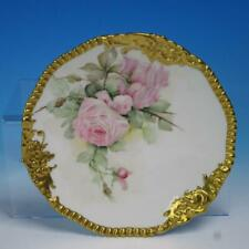 "TV Limoges France - Hand Painted Roses - Gold Rim - 9¼"" Cabinet Collector Plate"