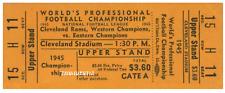 1945 NFL CHAMPIONSHIP VINTAGE UNUSED FULL TICKET CLEVELAND WASHINGTON laminated