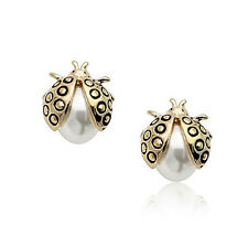 9ct yellow gold filled pearl stud ladybird solid women girl earrings