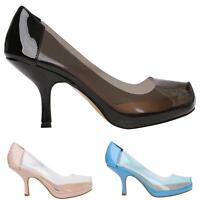 NEW WOMAN LADIES CASUAL SMART WORK MID HEEL PERSPEX COURT PUMP SHOES SIZE 3-8
