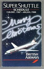 BRITISH AIRWAYS SUPER SHUTTLE AIRLINE TIMETABLE CHRISTMAS 1987 BA