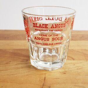 Texas Bull Shot Black Angus Restaurant Mr Angus Whiskey Sour Glass 1960s