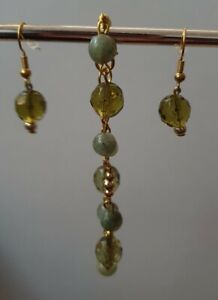 Green Jade Earrings and Bracelet Set Gold Plated Crystal Stunning Unique Chain