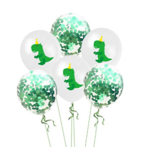 12 Pack Dinosaur Balloons Green T-Rex Confetti Tyrannosaurus Boys Birthday Party