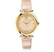 Versace Women Crystal Gleam Quartz Stainless Steel Leather Watch,VAN050016