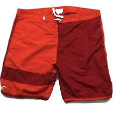 New listing Teal Cove Swim Shorts Size 40 Flat Front Drawstrings Neon Orange Red Polyester