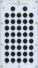 """Capital Plastic 8""""x14"""" 42-Coin Holder """"U.S. Washington Quarter 1932-'47"""" - White"""