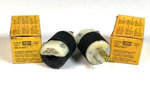 (2) NOS Hubbell HBL4720C, NEMA L5-15P, 2-Pole 3-Wire 15A 125V Plug Twist-Lock