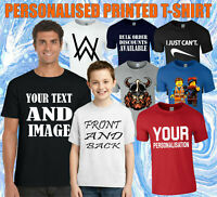 CUSTOMISED PRINTED T-SHIRT, ADD YOUR DESIGN,TEXT & IMAGE KIDS & ADULTS TEE TOP