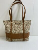 Longaberger Small Tote Shoulder Bag Purse Tan Brown Floral Fabric Lightweight