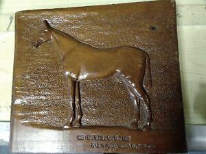 Vintage Wooden Hand Carved Plaque 'Bahram - Derby 1935'  BB541