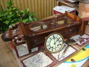 Vintage  Wooden Case Wall Clock  &  GERMAN  LENZKIRCH Movement  Spare / Repair