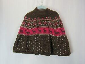 NWT Gymboree 7-8 Brown Nordic Print Poncho Sweater Coat Jacket