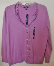 Chaps NEW Womens Size 2X Knit Sweater Cardigan Orchid Purple