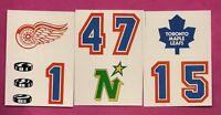 1985-86 TOPPS LEAFS + WINGS + STARS LOGO HELMET STICKER CARD (INV# A7752)