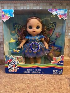 Baby Alive Once Upon A Fairy Lily Doll Brunette Brown Hair Dress Wings Wand