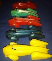 "vtg Lot 5 RENWAL SPEED KING Cars Streamline 4 3/8"" PLASTIC Racers PARTS CARS"
